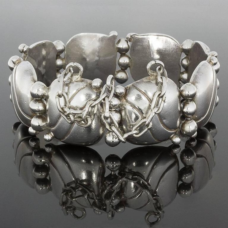 1940s William Spratling Silver Pillow Wave Bracelet For Sale 1
