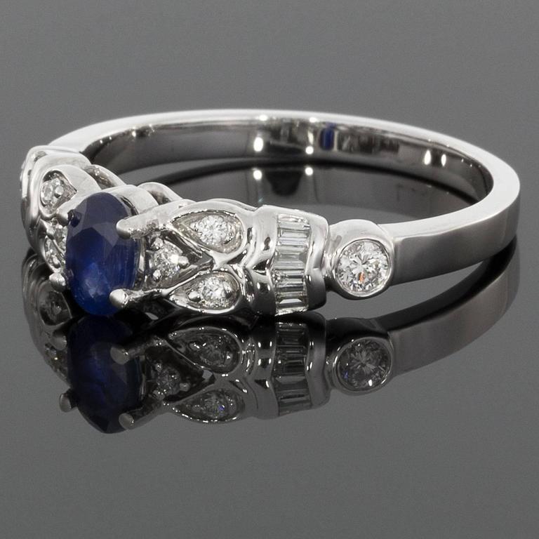 Oval Blue Sapphire Diamond White Gold Paisley Shapes