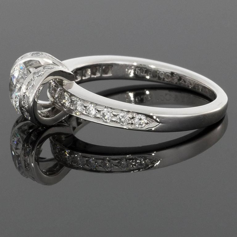 d08542e2d Ideal Cut Diamond Platinum Ribbon Engagement Ring For Sale. Tiffany &  Co have long been revered for their fabulous diamonds & spectacular  original