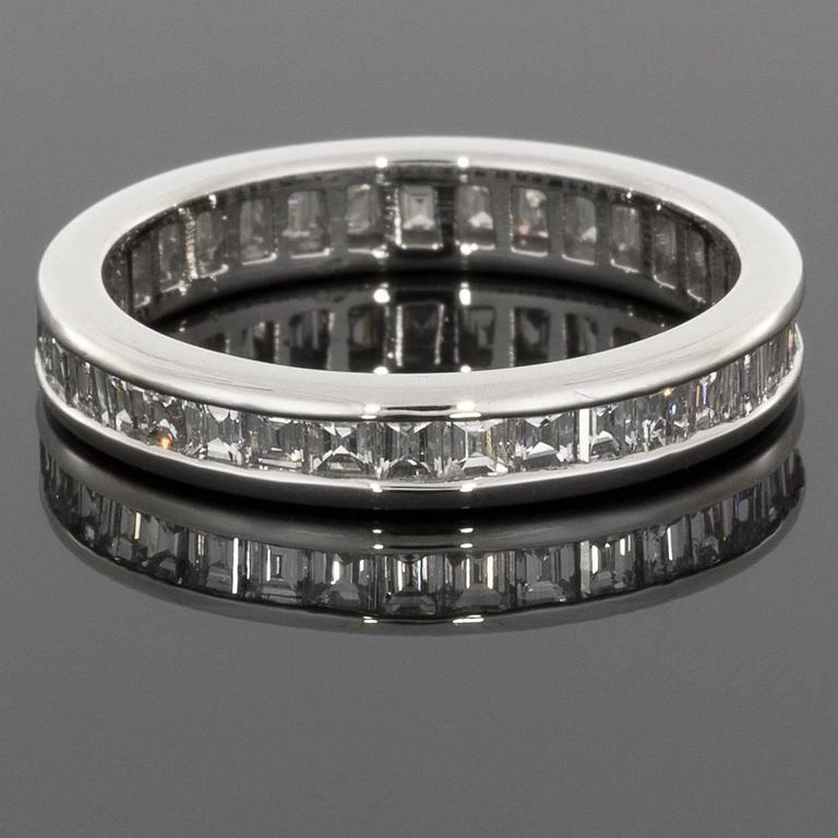 asscher cut platinum eternity band wedding ring