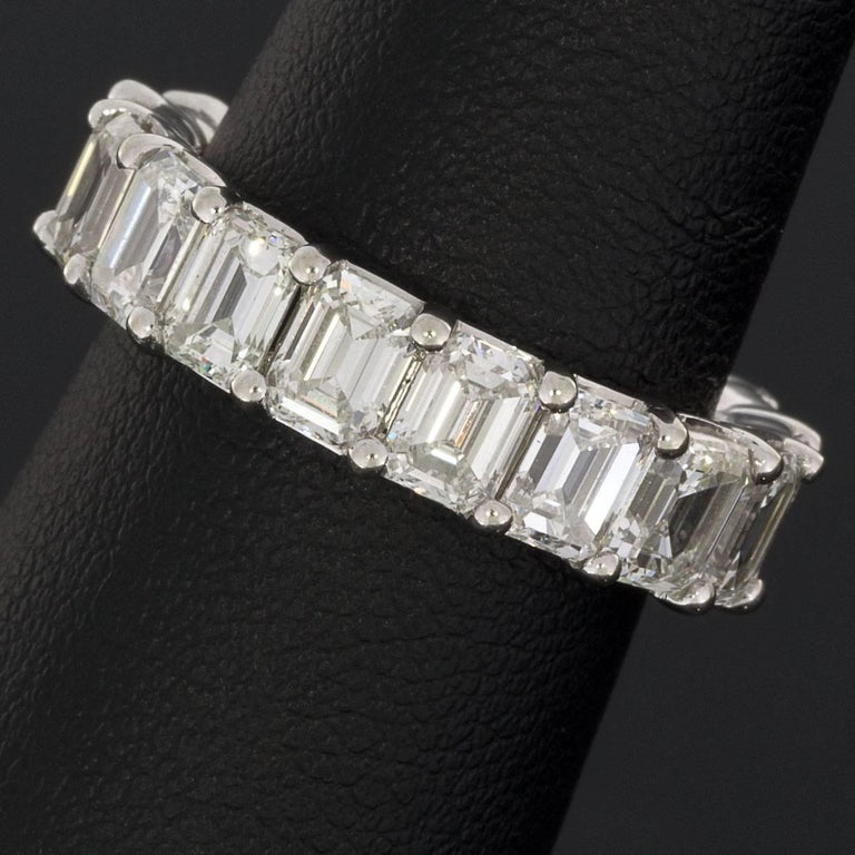 magnificent emerald cut white gold eternity band