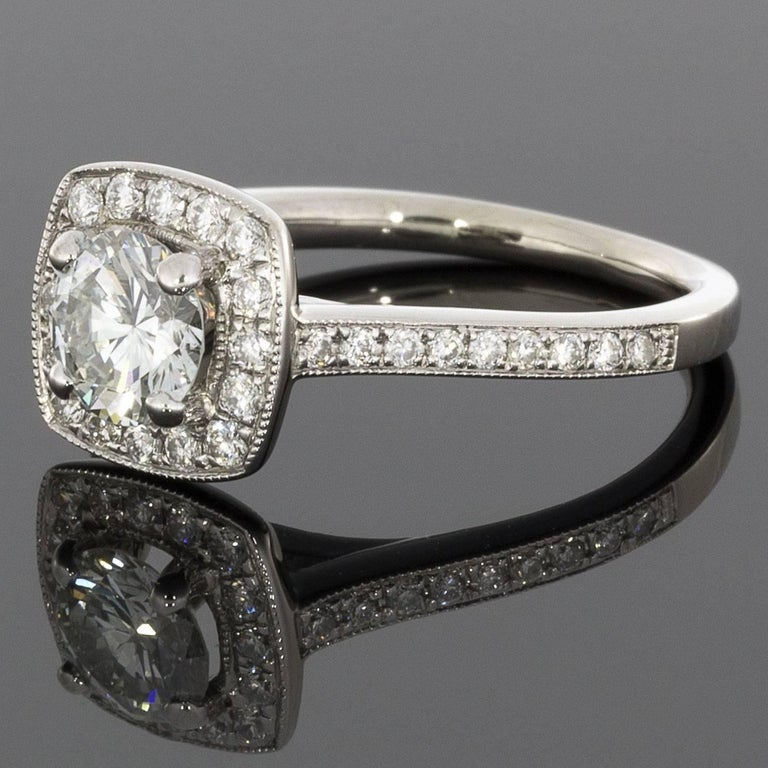Round Diamond Cushion Halo White Gold Engagement Ring For Sale at 1stdibs