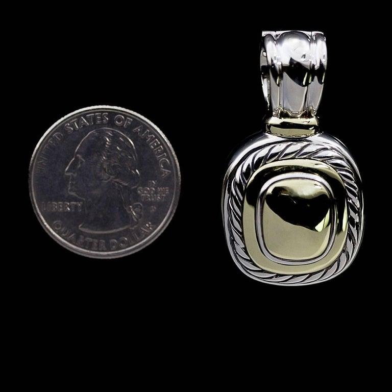 David Yurman 14 Karat Gold and Silver Albion Enhancer Pendant For Sale 1