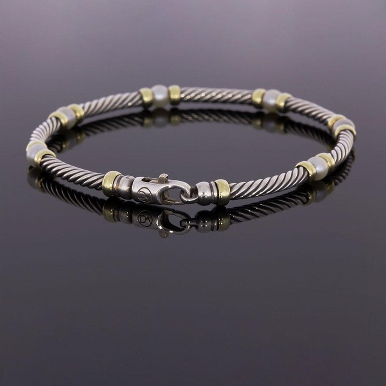 David Yurman Gold And Silver Hampton Pearl Cable Bracelet In Excellent Condition For Columbia