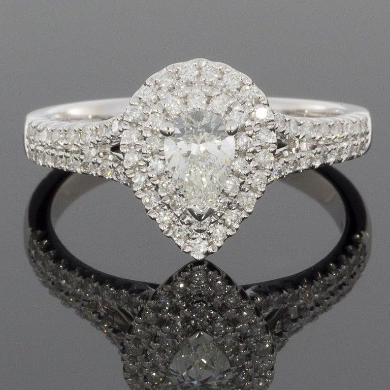White Gold Pear Diamond Double Halo Engagement Ring Wedding Band Set