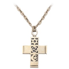 Barry Kieselstein Cord Silver Cross on associated Sterling Anchor Chain
