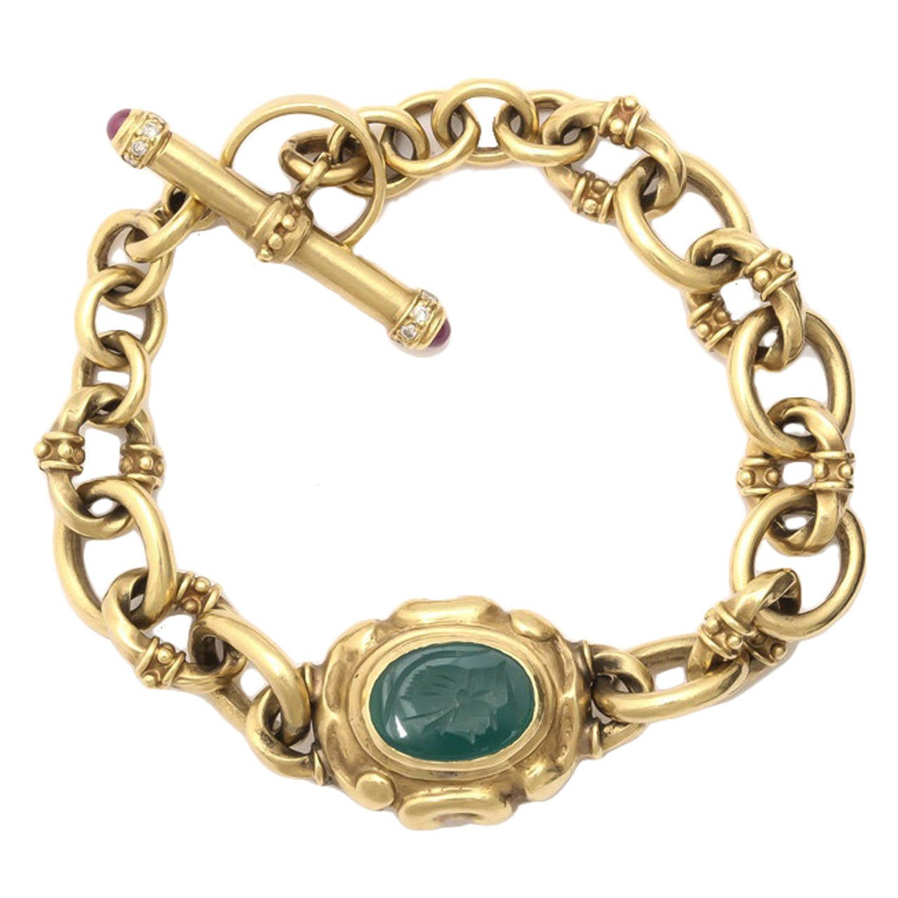 Italian Handmade Gold Bracelet with Toggle and Ring Closing