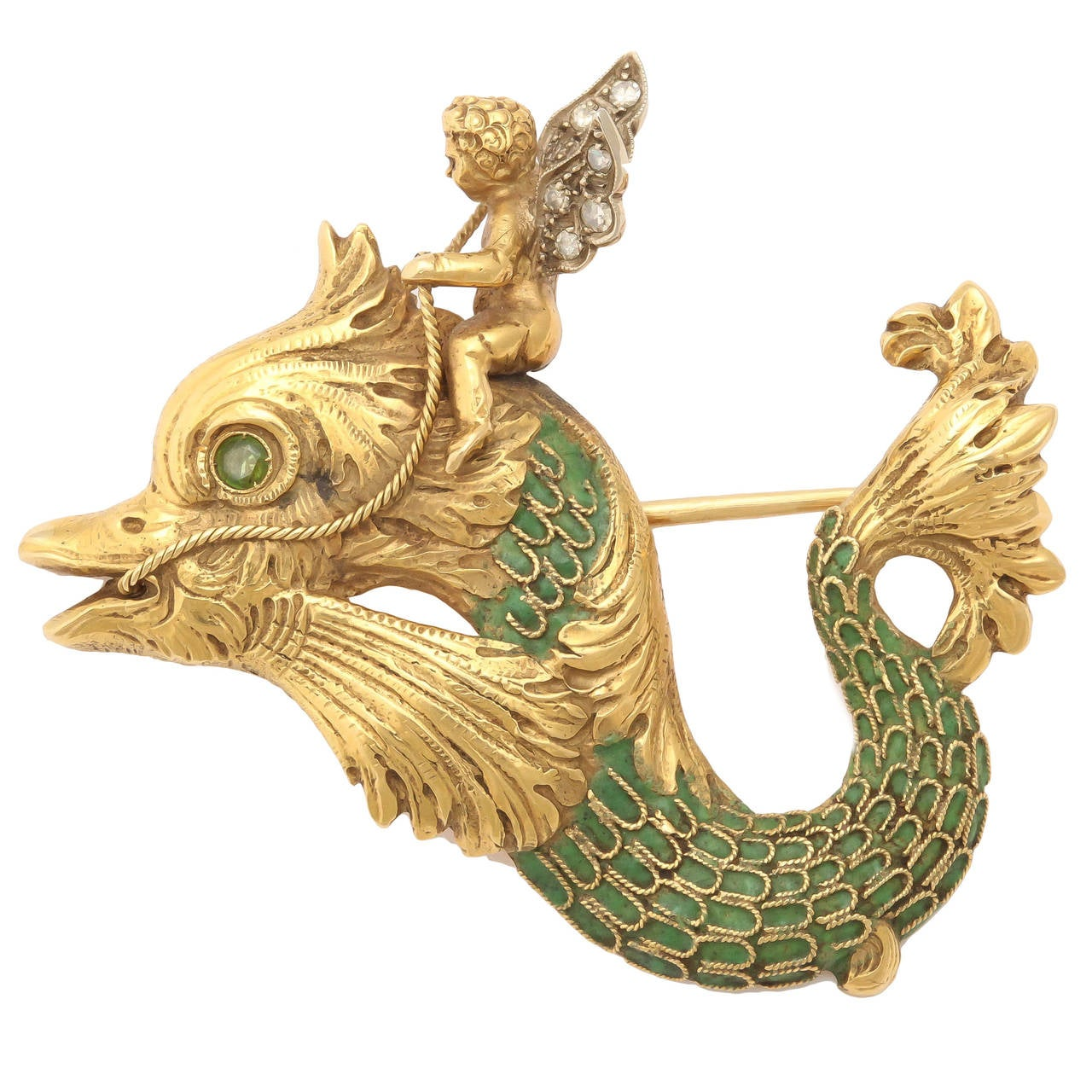 Whimsical Green Enamel Gold Winged Cherub Brooch For Sale