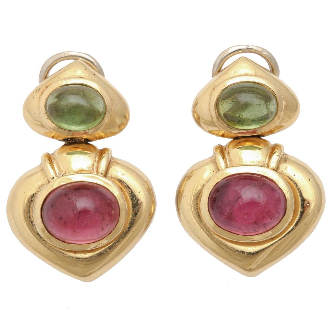 peridot pink tourmaline gold drop earrings at 1stdibs