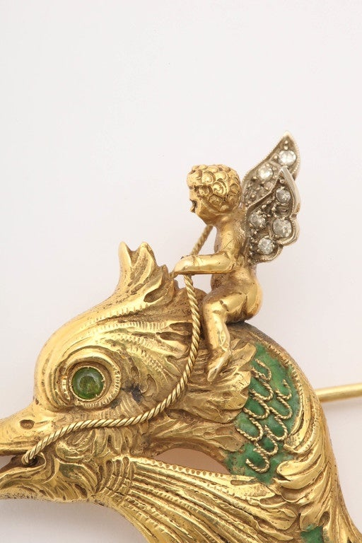 Women's Whimsical Green Enamel Gold Winged Cherub Brooch For Sale