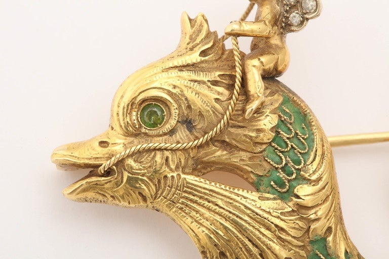 Whimsical Green Enamel Gold Winged Cherub Brooch For Sale 1