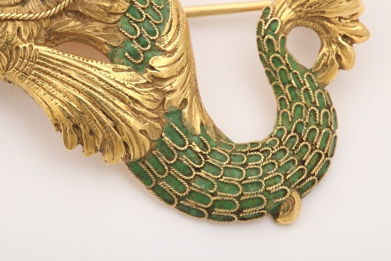 Whimsical Green Enamel Gold Winged Cherub Brooch For Sale 2