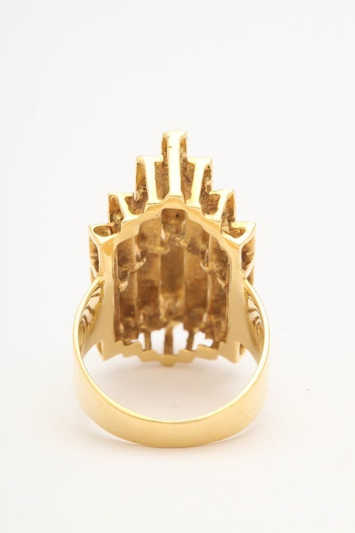 Contemporary Italian Three Dimensional Architectural Enamel Gold Ring For Sale