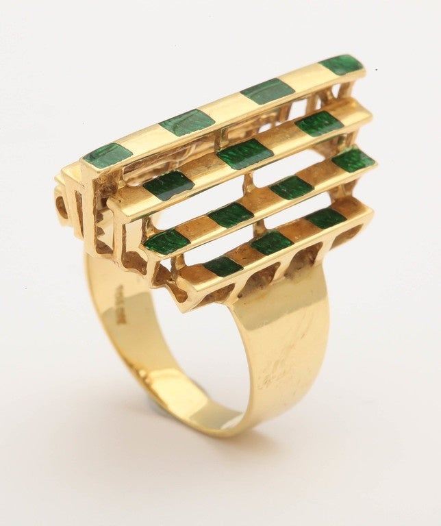 Italian Three Dimensional Architectural Enamel Gold Ring In Excellent Condition For Sale In New York, NY