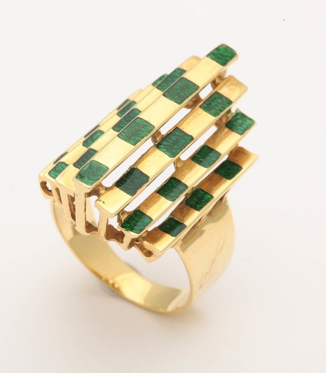 Italian Three Dimensional Architectural Enamel Gold Ring For Sale 1