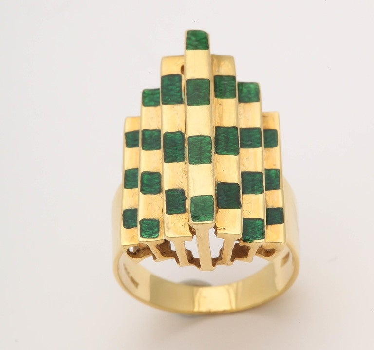 Italian Three Dimensional Architectural Enamel Gold Ring For Sale 2