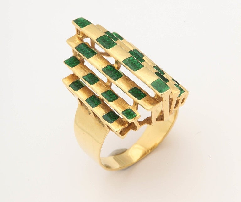Italian Three Dimensional Architectural Enamel Gold Ring For Sale 3