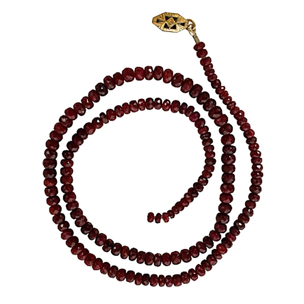 faceted ruby bead necklace at 1stdibs