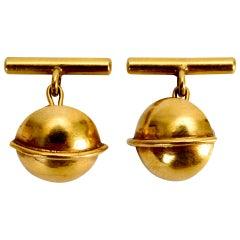 Art Deco 14 Karat Gold Saturn Cufflinks, c1930