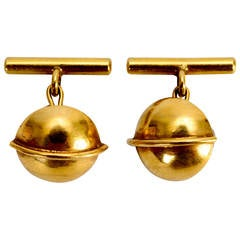 Art Deco 14 Karat Gold Saturn Cufflinks