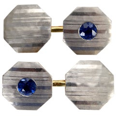 Blue Sapphire, Platinum and 18k Gold Art Deco Cufflinks c1925
