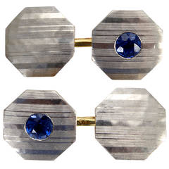 Blue Sapphire, Platinum and 18k Gold Art Deco Cufflinks