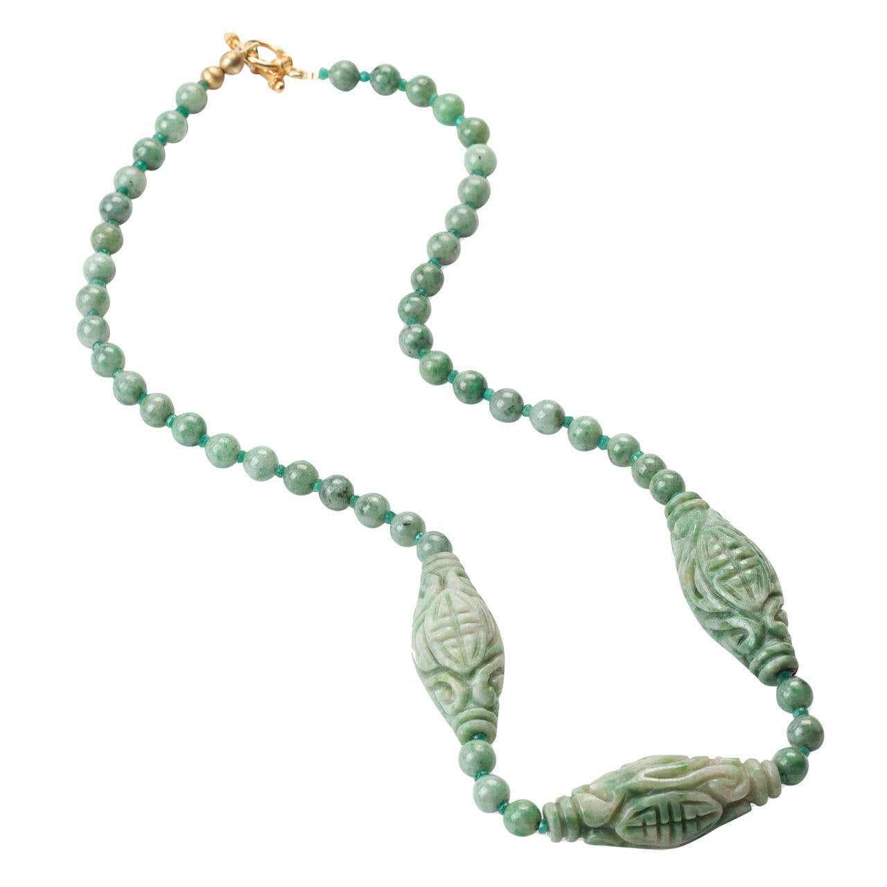 Carved Jade Barrel Necklace For Sale