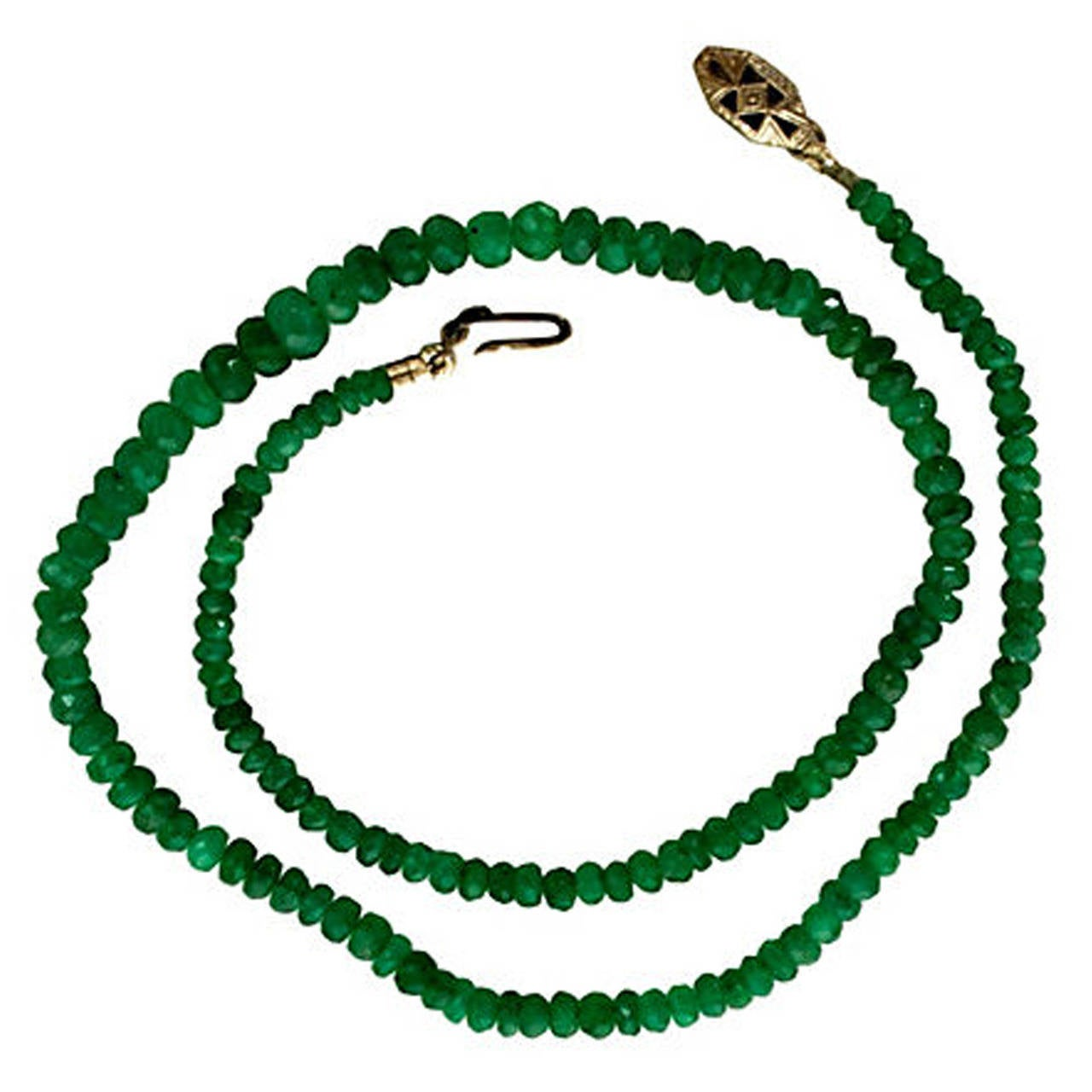 graduated and faceted emerald bead necklace at 1stdibs