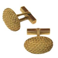 Tiffany & Co. 18 Karat Gold Basket Weave Cabochon Cufflinks