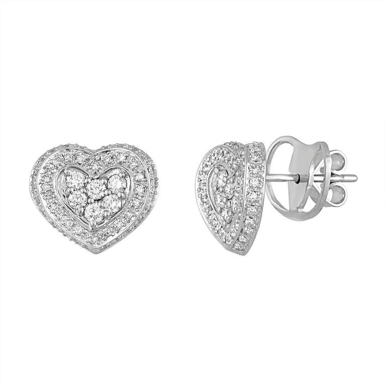1.08 Carats Diamond Gold Heart Stud Earrings