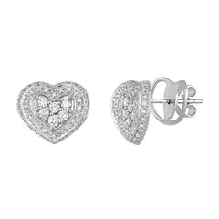 1.08 Carats Diamond Gold Heart Stud Earrings