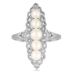 Diamond And Cultured Freshwater Pearls Gold Ring