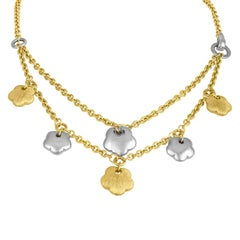 IL GIOIELLO Yellow And White Gold Flower Necklace