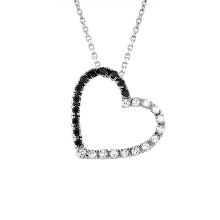 0.50 Carat Black and White Diamond Gold Heart Pendant Necklace