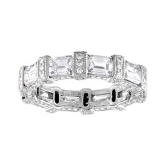 5.18 Carat Emerald Cut Eternity Diamond Platinum Band