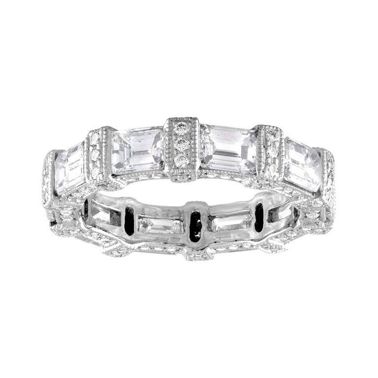 5.18 Carat Emerald Cut Eternity Diamond Platinum Band For Sale