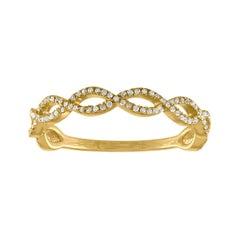 0.17 Carats Diamond Infinity Yellow Gold Band Ring