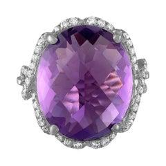 16.55 Carat Amethyst Diamond Gold Ring