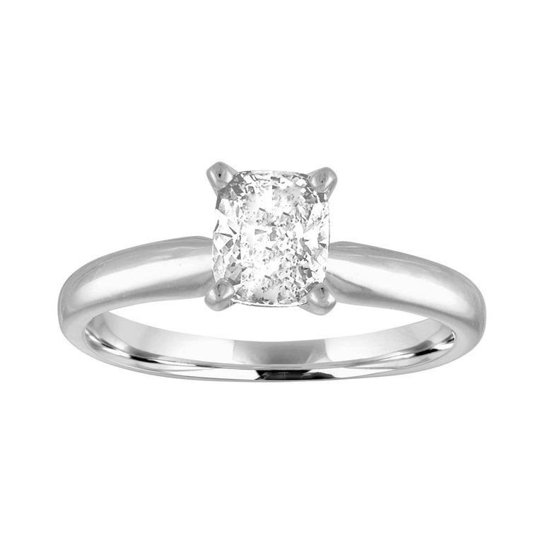GIA Certified 0.79 Carat H VS1 Cushion Cut Diamond Platinum Solitaire Ring