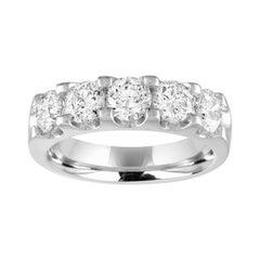 2.00 Carats Diamond Five Stone Gold Half Band Ring