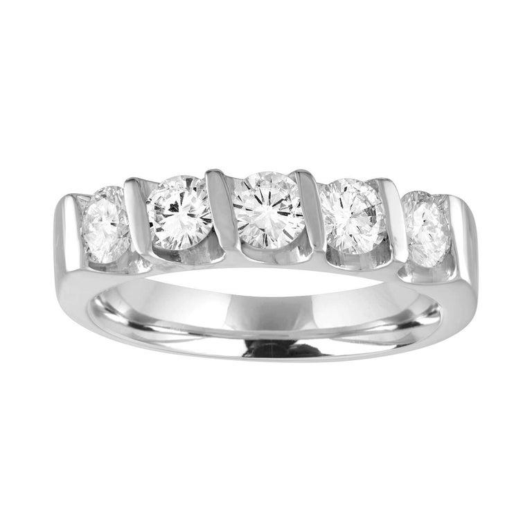 0.75 Carat Diamond Five Stone Gold Half Band Ring