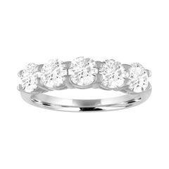 Five-Stone 1.00 Carat Diamond Platinum Half Band Ring