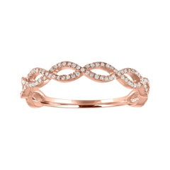 0.17 Carats Diamond Infinity Rose Gold Band Ring