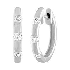 0.25 Carat Diamond Gold Hoop Earrings
