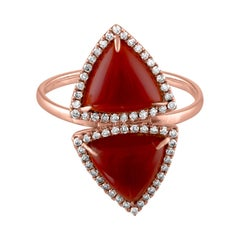 4.00 Carat Trillion Red Agate And Diamond Gold Ring