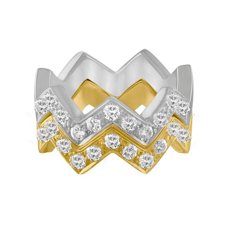 Mazzoli 1.00 Carat Diamond Gold Stackable Zigzag Rings
