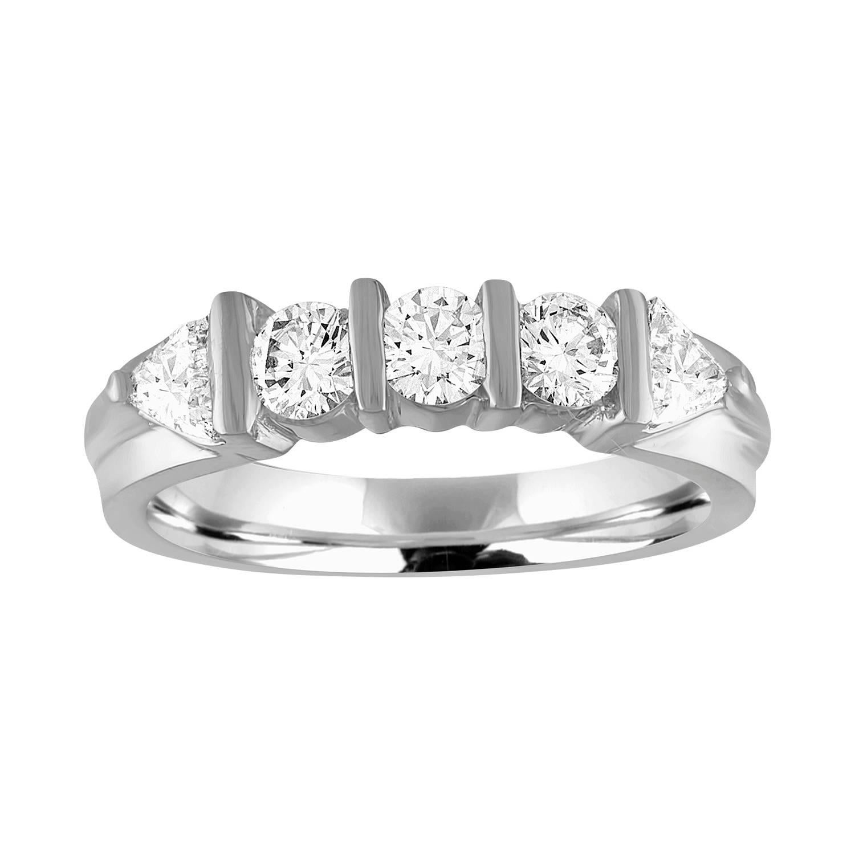 0.80 Carat Diamond Platinum Five Stone Half Band Ring