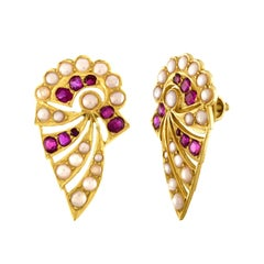 Burma Rubies and Pearls Gold Earrings