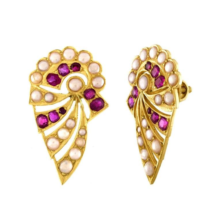 Burma Rubies and Pearls Gold Earrings