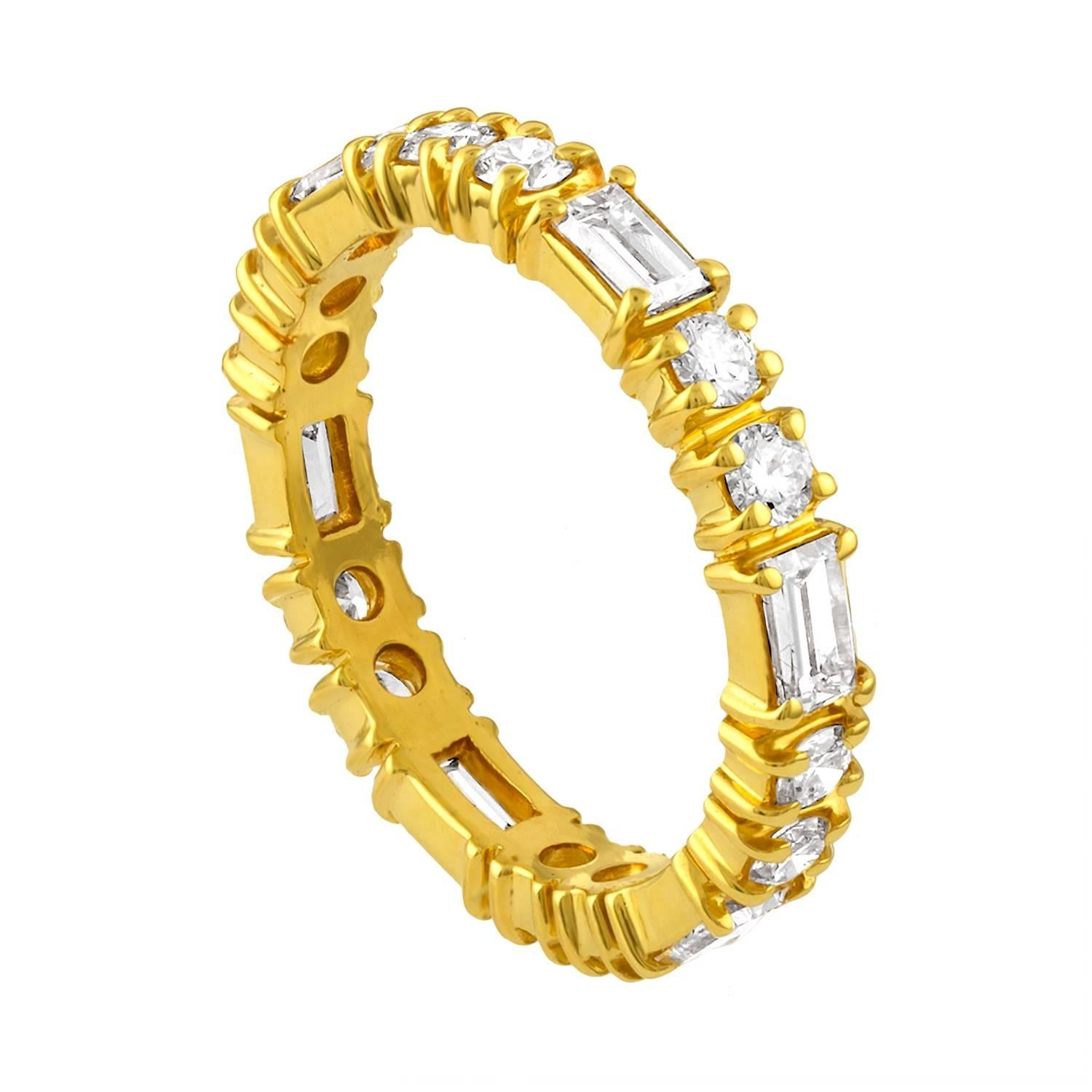 1.50 Carat Round and Baguette Diamond Gold Eternity Band Ring
